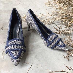 Tory Burch Nate Tweed Blue Kitten Heel Loafers 8.5